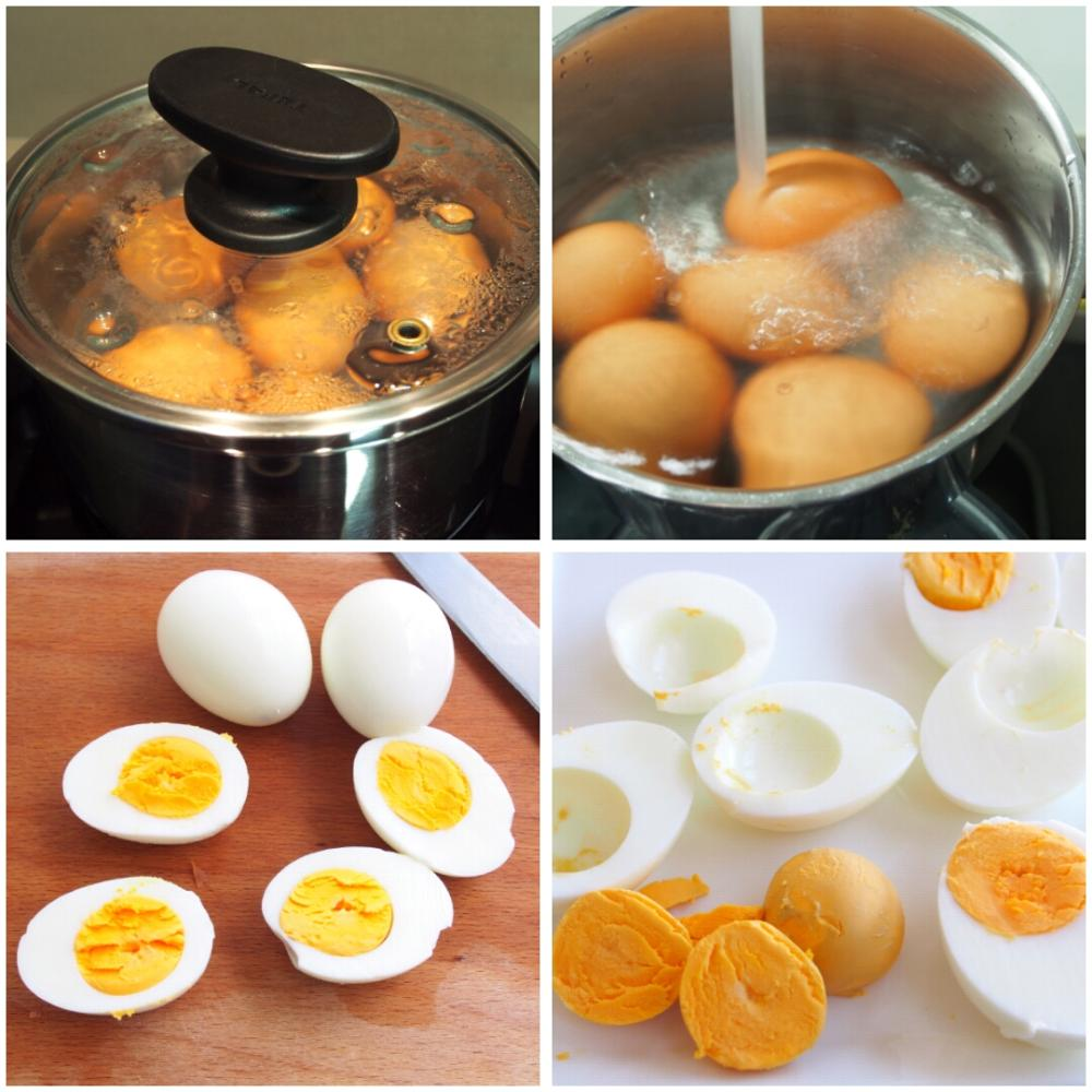 Huevos rellenos de surimi - Paso 1