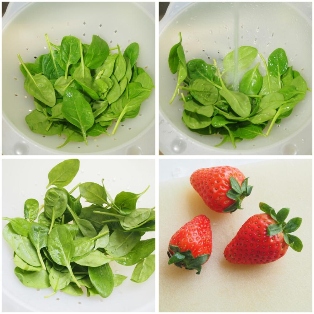 Ensalada de espinacas y fresas - Paso 1