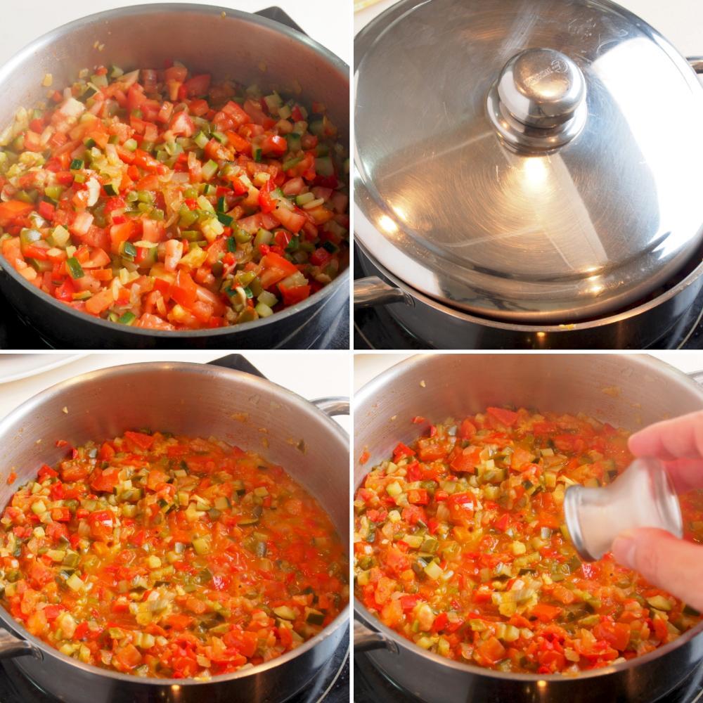 Pisto con huevo y crujiente de jamón - Paso 4