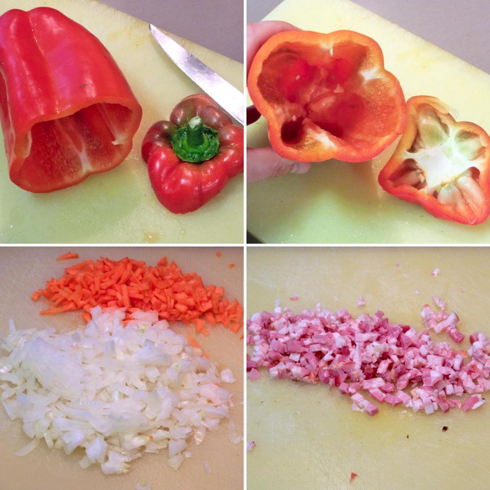 Pimientos rellenos de carne picada - Paso 2