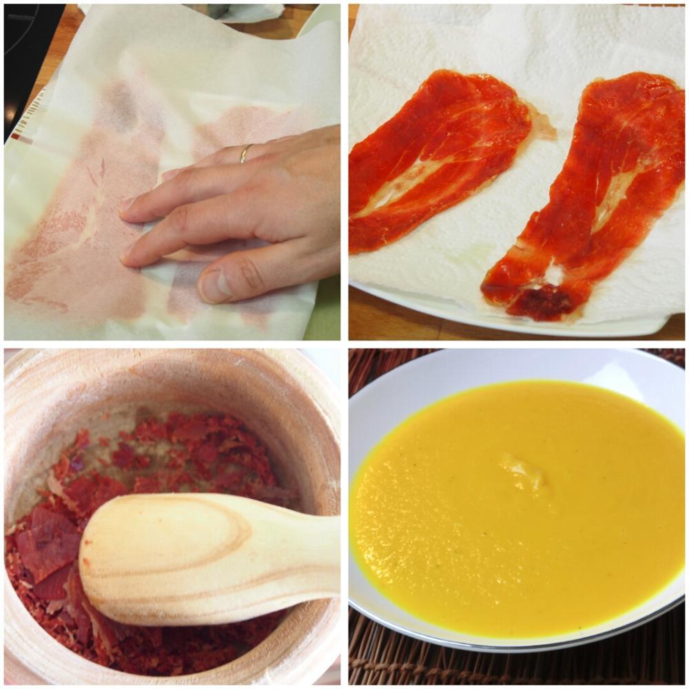 Crema de calabaza con virutas crujientes de jamón - Paso 4