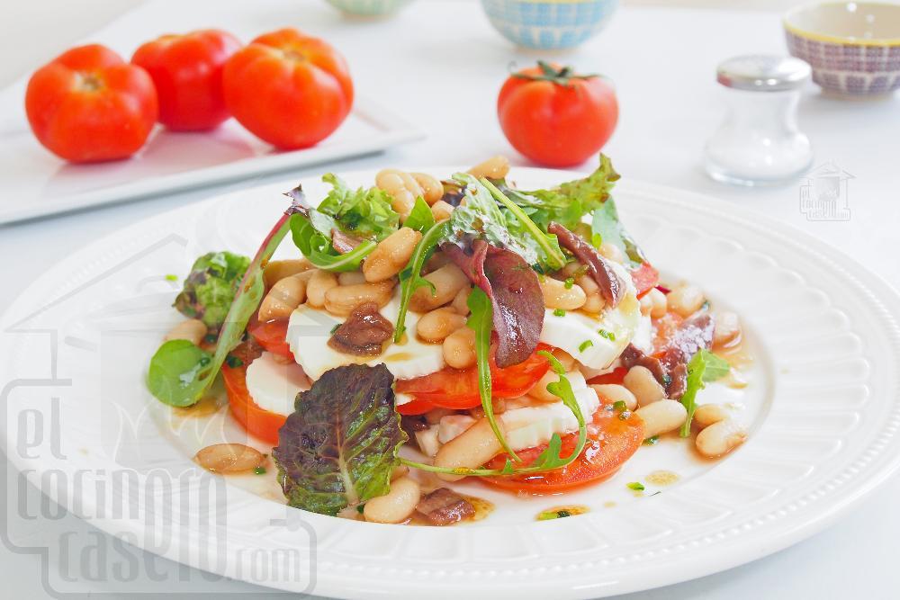 Ensalada de alubias con queso y anchoas - Paso 6