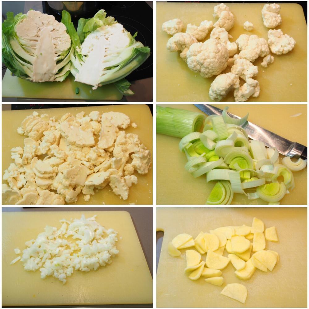 Vieiras a la plancha sobre crema de coliflor, pasas y piñones  - Paso 2