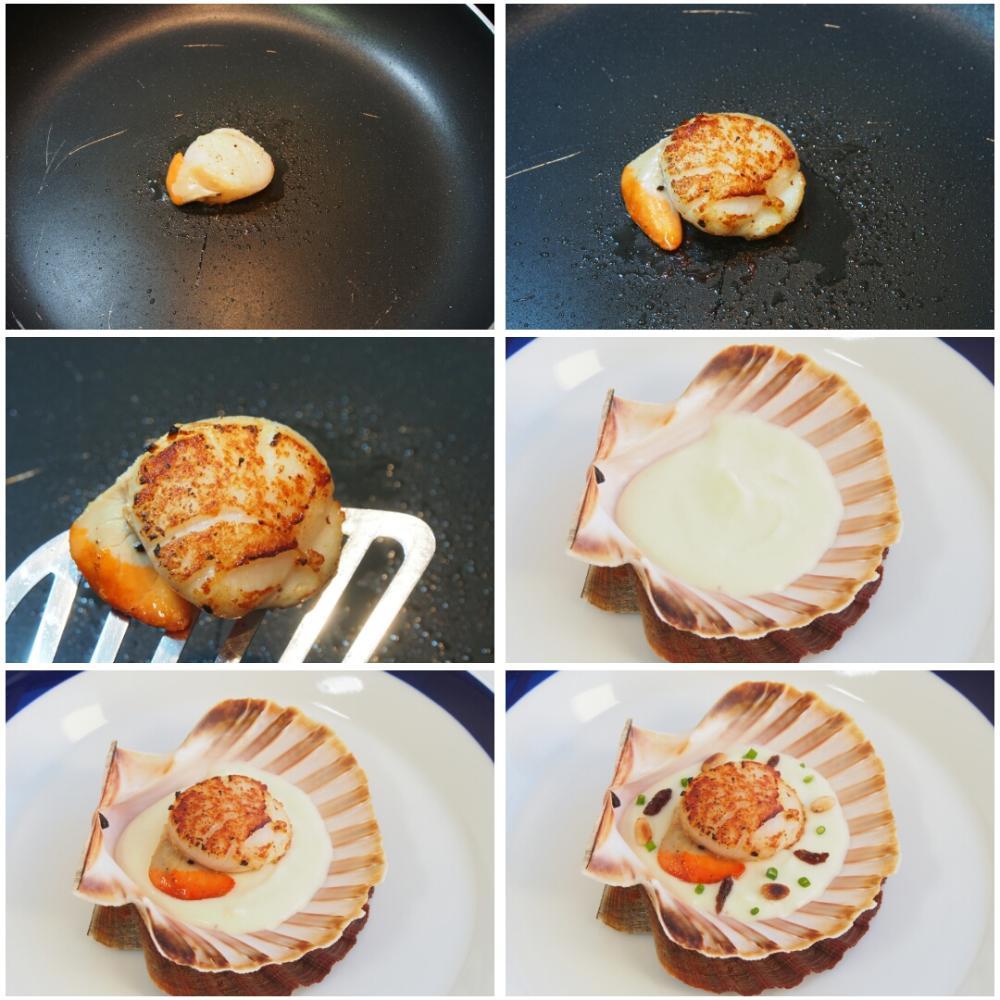 Vieiras a la plancha sobre crema de coliflor, pasas y piñones  - Paso 8