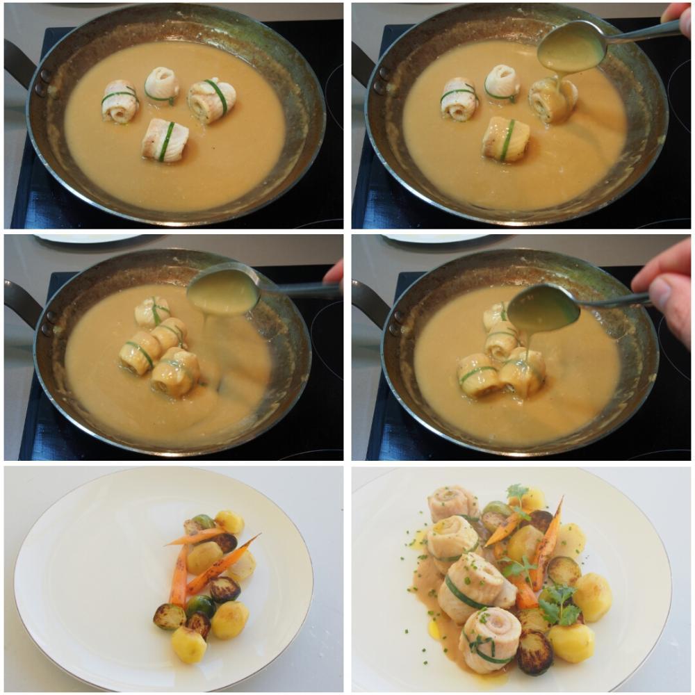 Lomos de lenguado en salsa velouté con verduras a la plancha - Paso 9