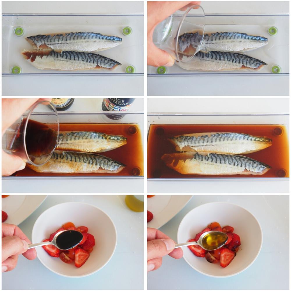 Caballa marinada, fresas y alga codium - Paso 7