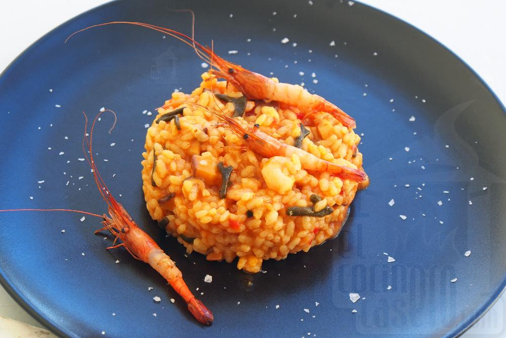 Arroz meloso de camarones gallegos, shiitake y alga codium - Paso 10