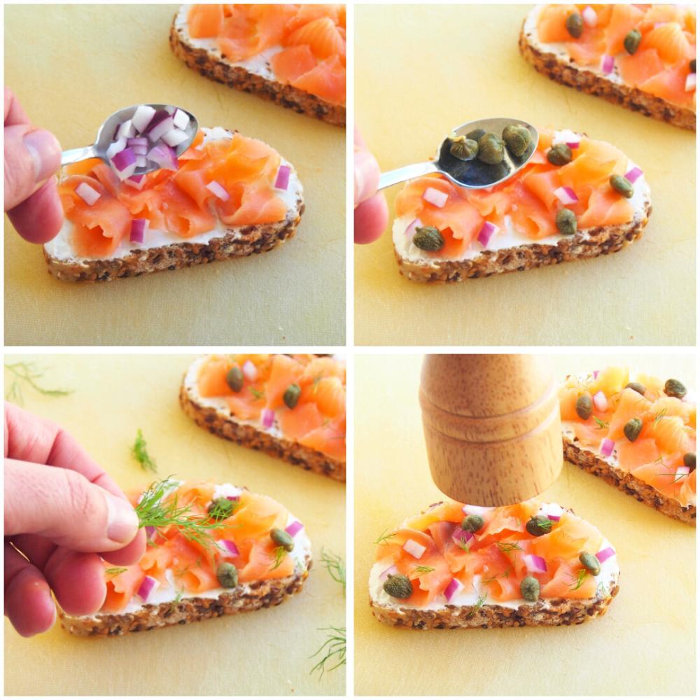 Tostas de salmón marinado, creme fraiche y eneldo - Paso 4