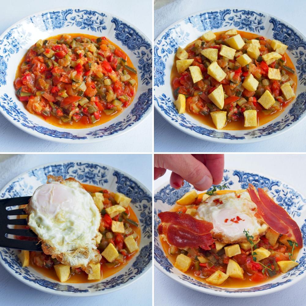 Pisto con huevo y crujiente de jamón - Paso 6