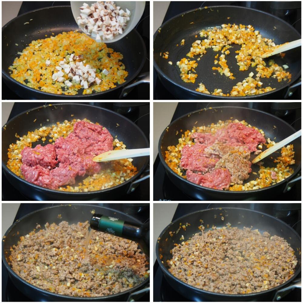 Canelones de carne picada y bechamel - Paso 3