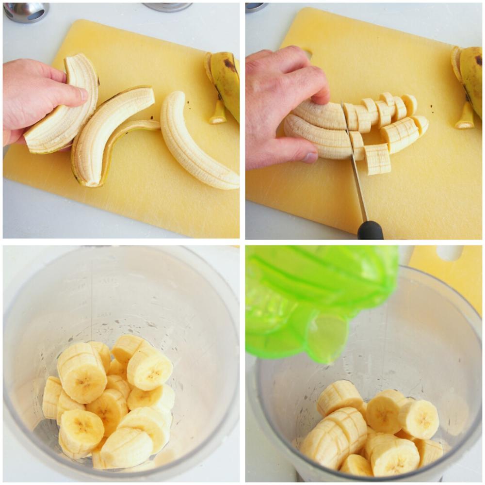 Crema de plátano, galletas de chocolate y naranja - Paso 1