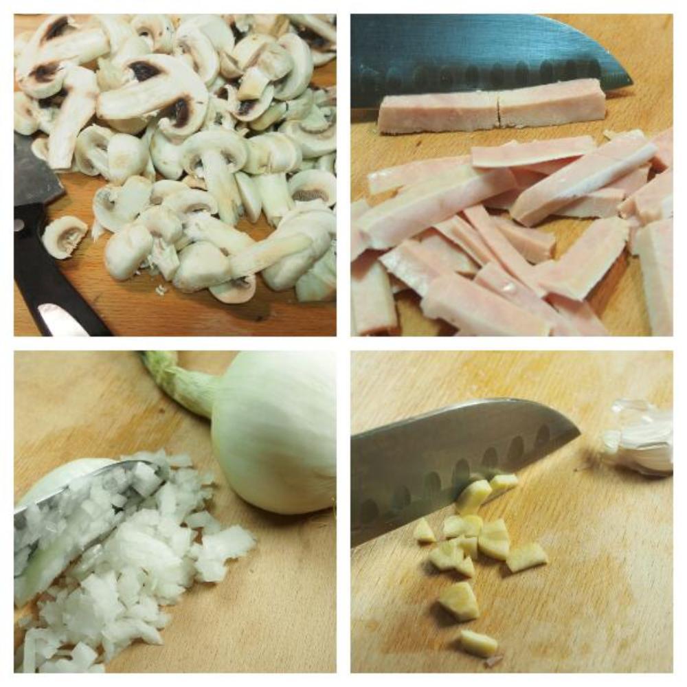 Fettuccini alla boscaiola - Paso 1