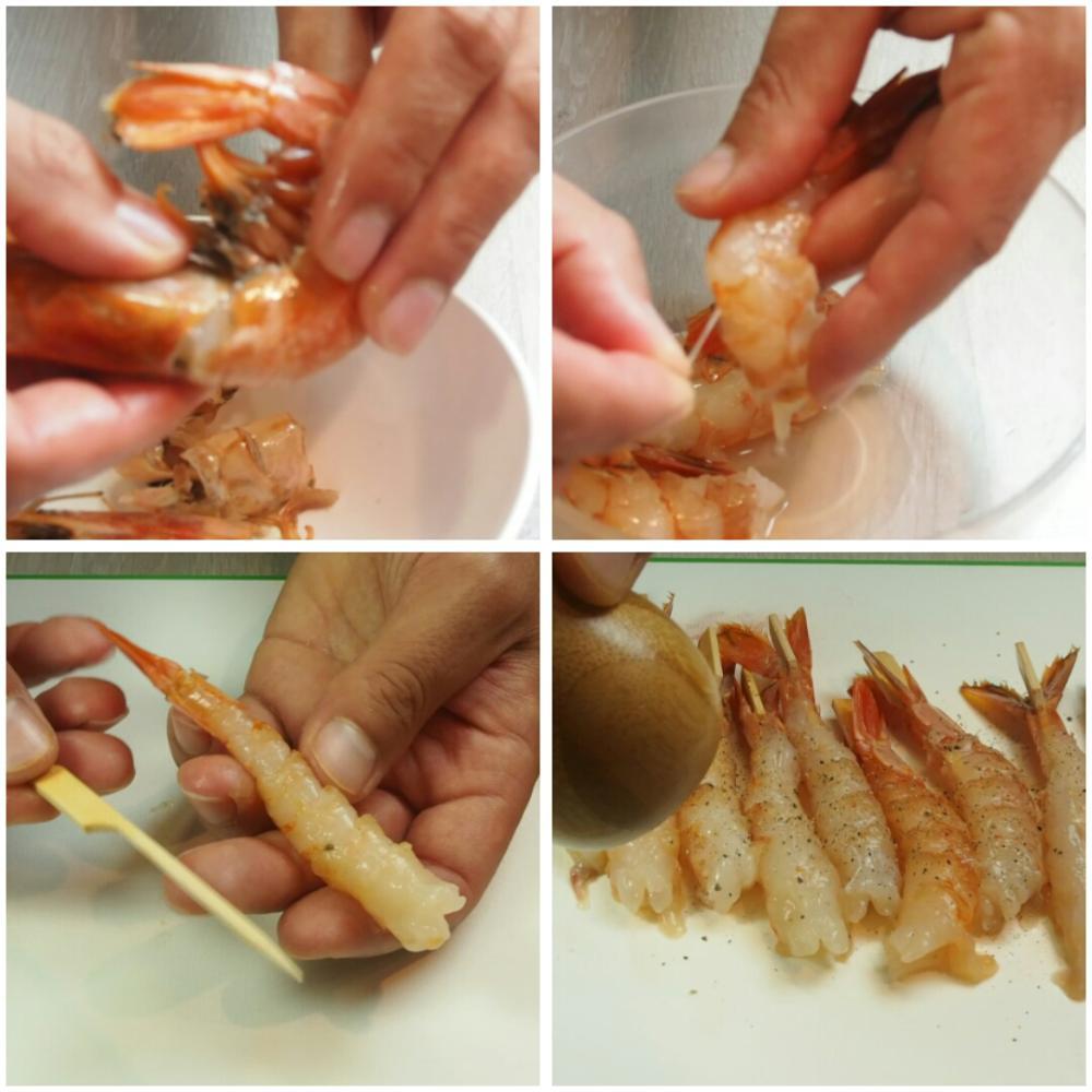 Langostinos en tempura con mayonesa de lima - Paso 1