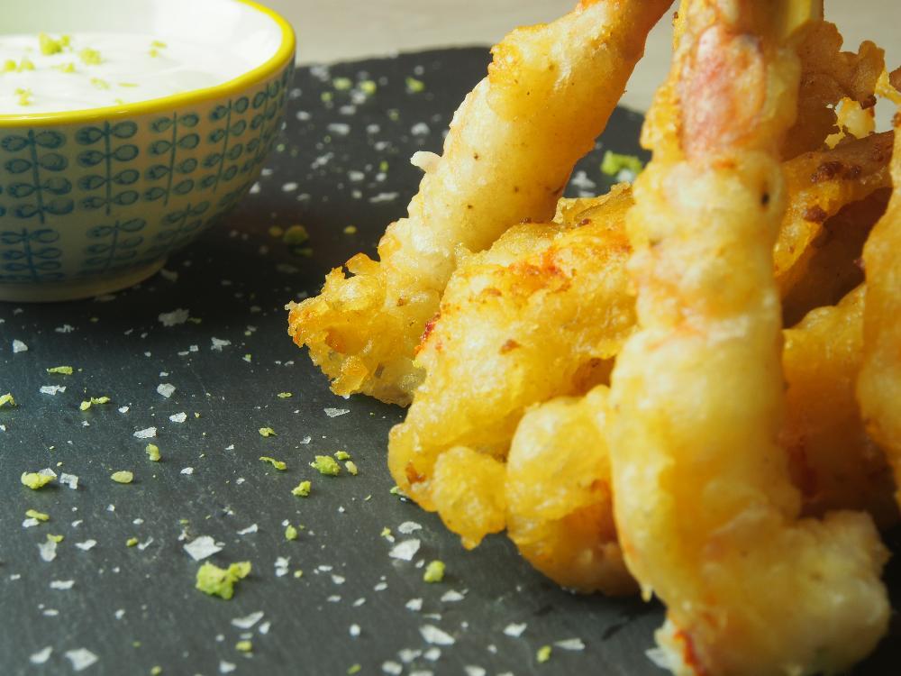Langostinos en tempura con mayonesa de lima - Paso 4