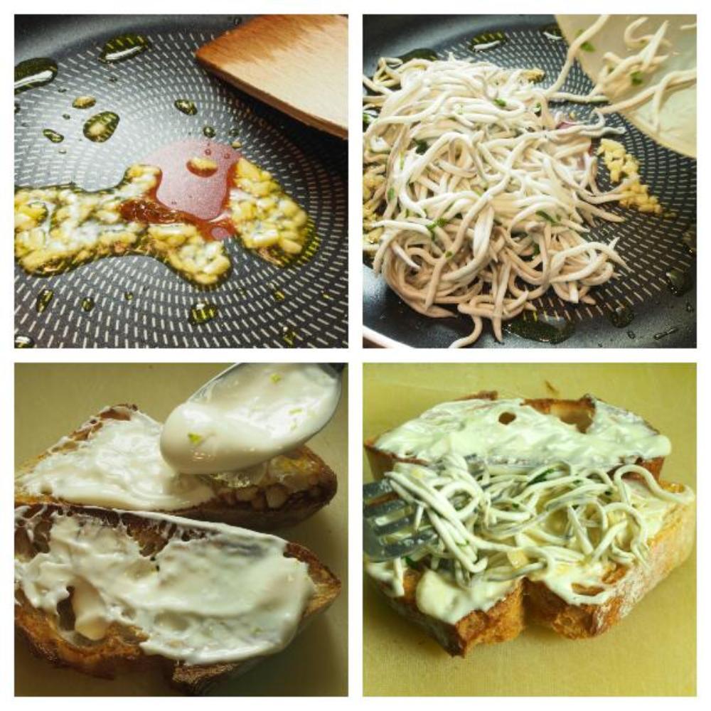 Tosta de gulas y langostinos con mayonesa de lima - Paso 2