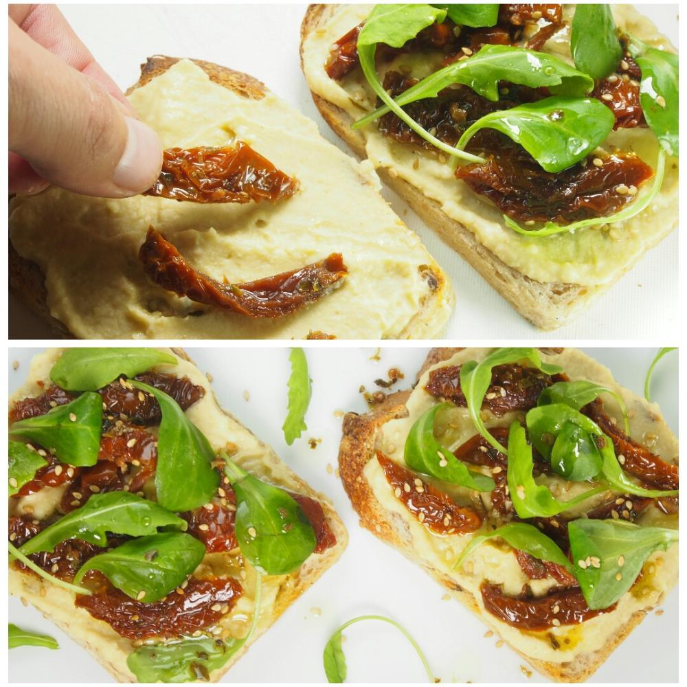 Tosta de hummus con tomates secos y rúcula - Paso 2
