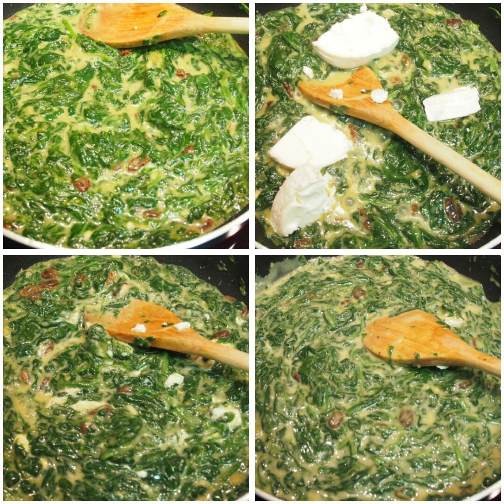 Espinacas a la crema con queso de cabra - Paso 3