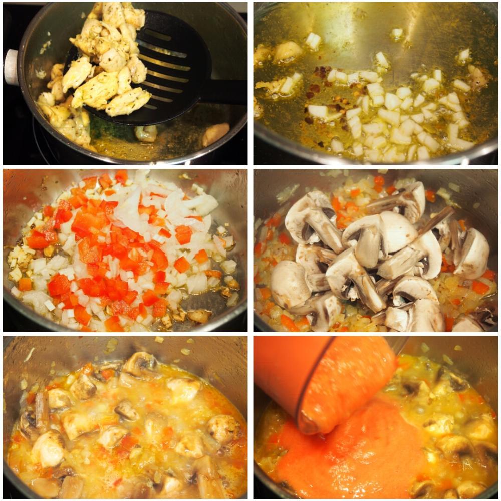 Arroz caldoso de pollo y champiñones - Paso 2
