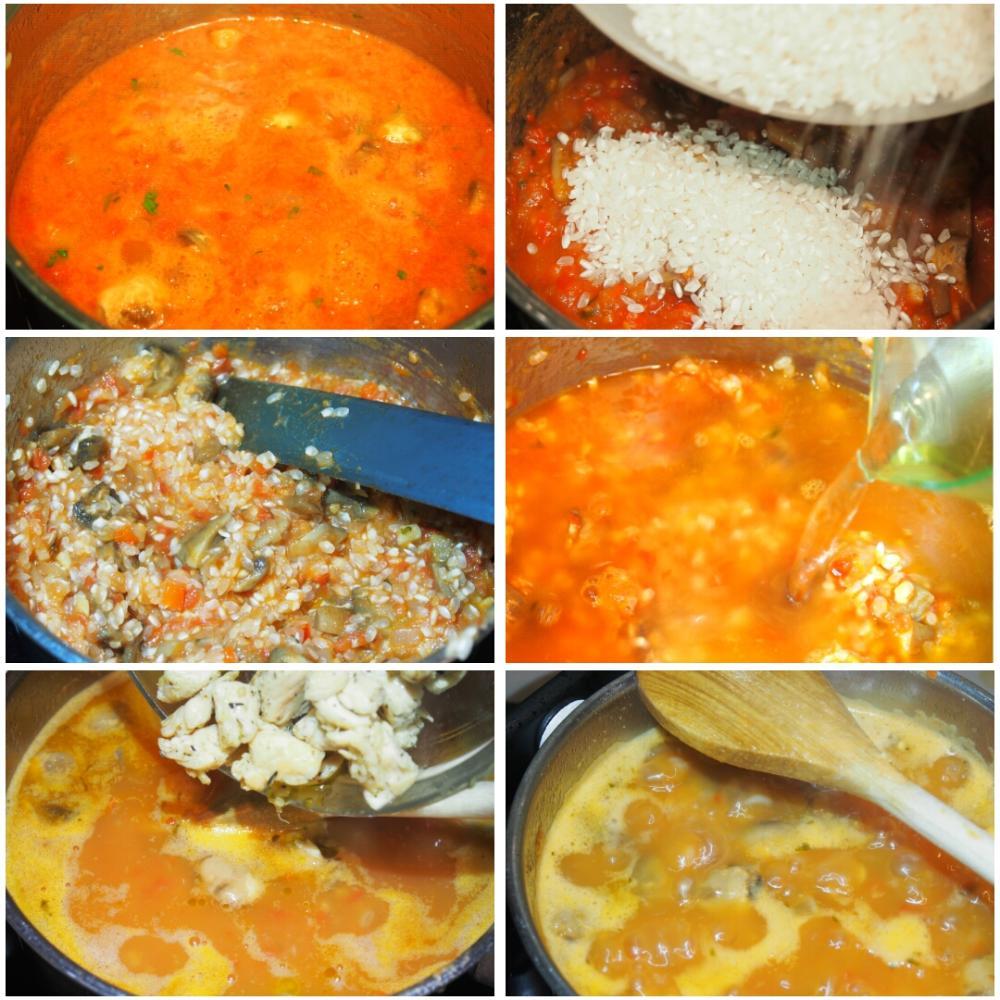 Arroz caldoso de pollo y champiñones - Paso 3