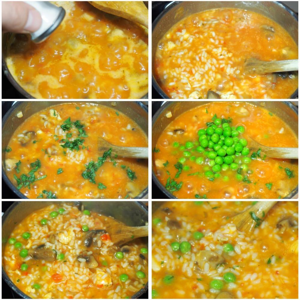 Arroz caldoso de pollo y champiñones - Paso 4