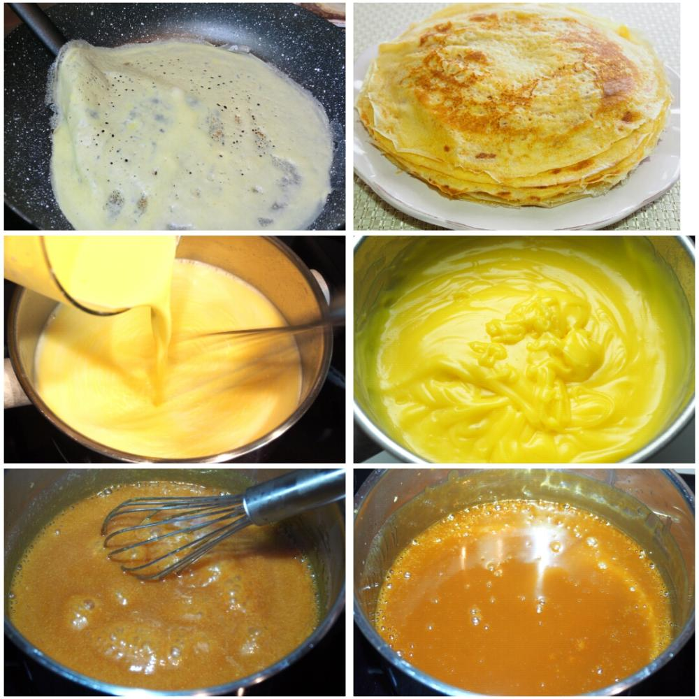 Filloas rellenas de crema pastelera con salsa de toffee - Paso 1