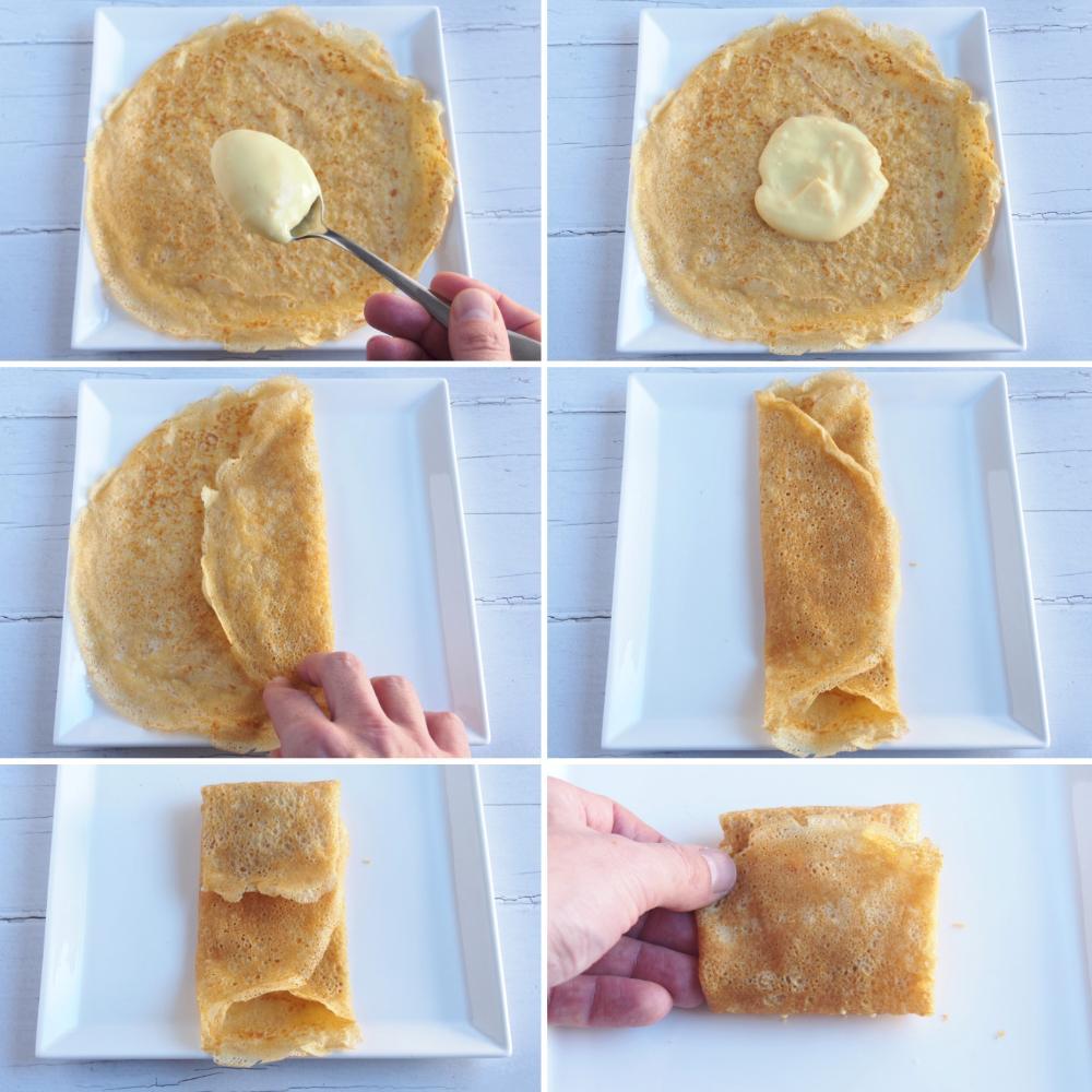 Filloas rellenas de crema pastelera con salsa de toffee - Paso 2