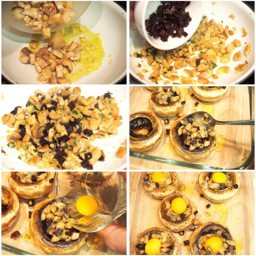 Champiñones rellenos de huevo de codorniz y jamón - Paso 3
