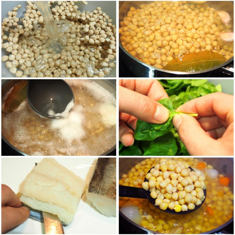 Potaje de garbanzos con bacalao y espinacas para 2 - Potaje con bacalao y espinacas ...