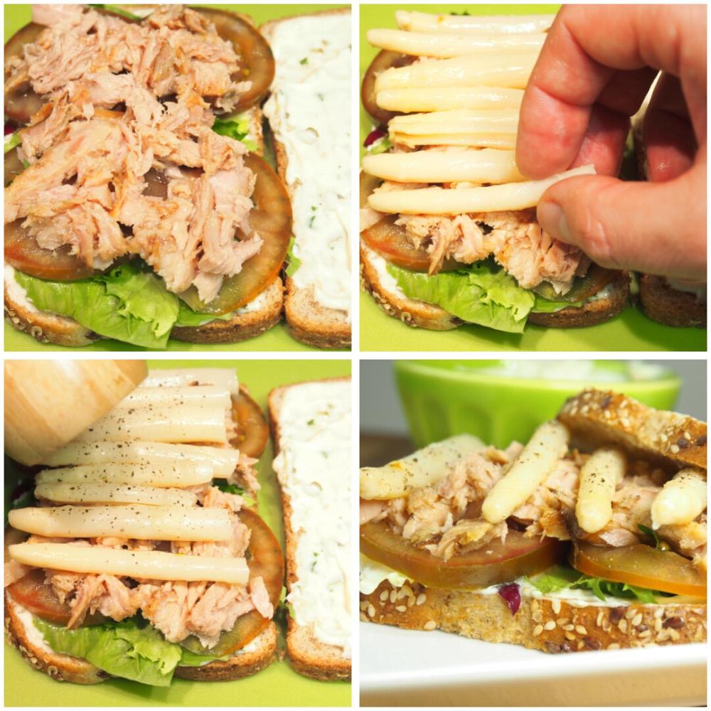 Sándwich de atún con espárragos y salsa tártara - Paso 2