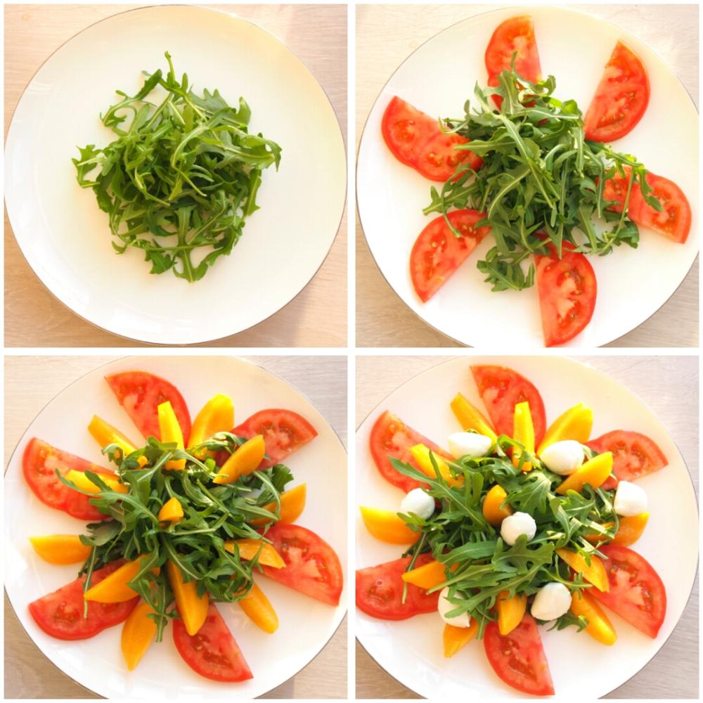 Ensalada de melocotón con rúcula y mozzarella - Paso 1