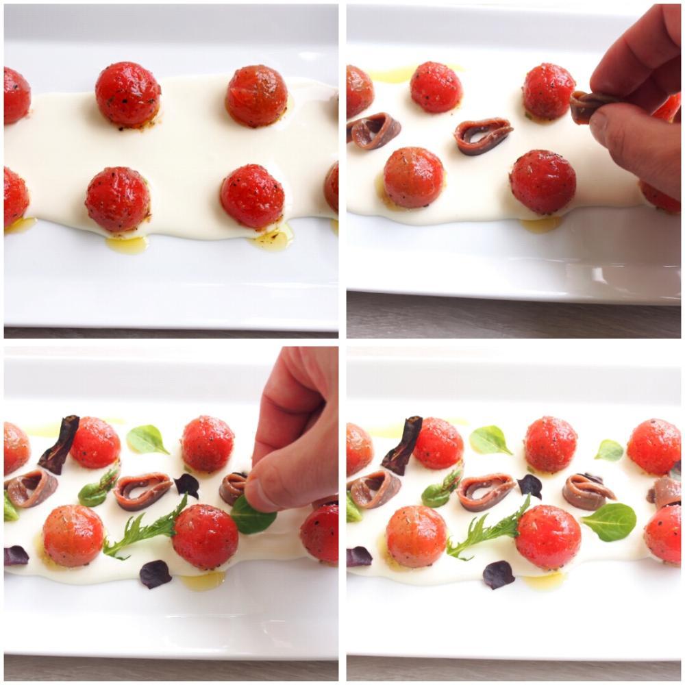 Tomates con anchoas y queso - Paso 3