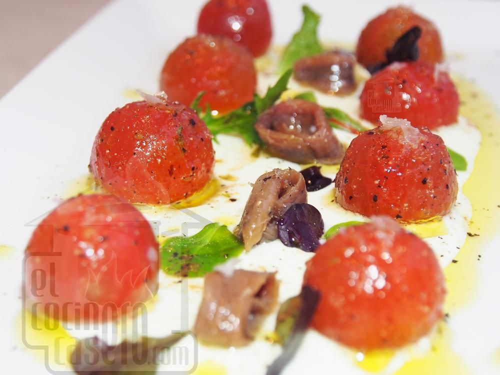 Tomates con anchoas y queso - Paso 5