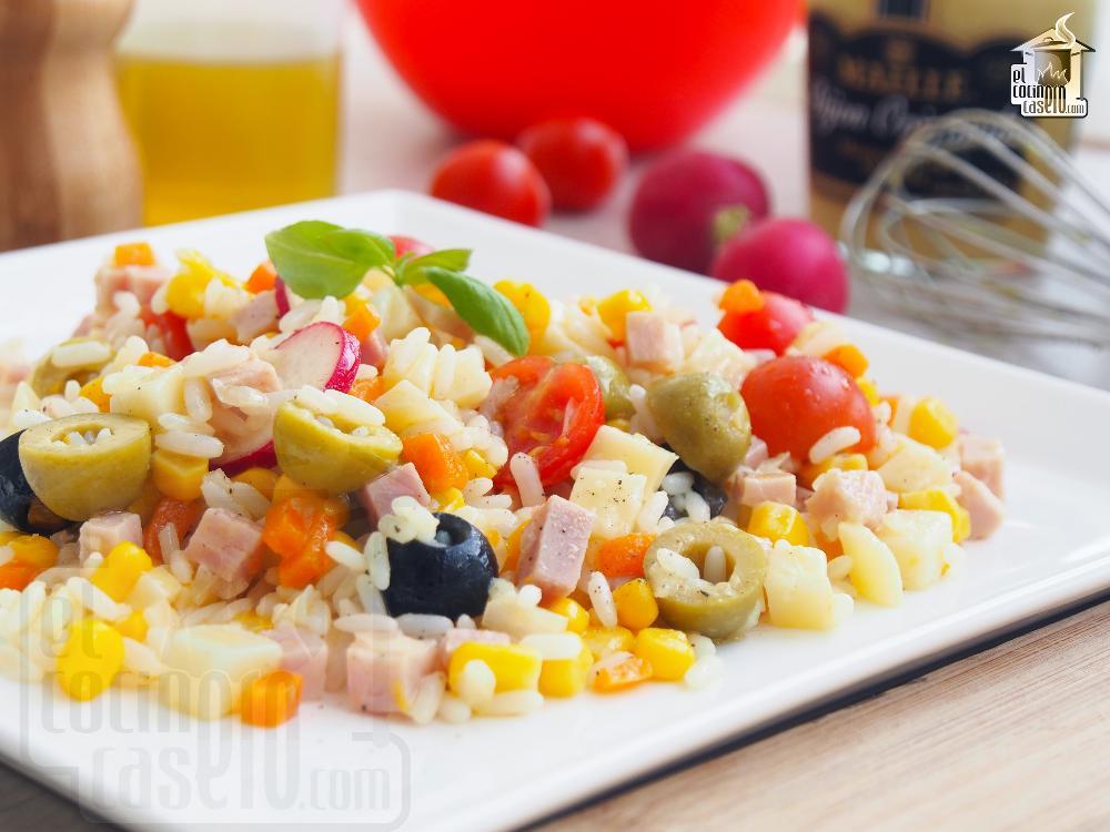 Ensalada de arroz con jamón y queso San Simón