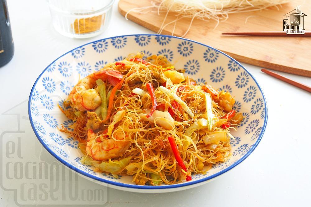 Noodles De Arroz Fritos Con Curry Y Gambas El Cocinero Casero Pasta Y Pizza